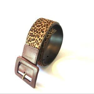 Calvin Klein Leopard Print Calf Hair Leather Belt